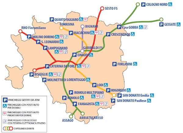 Парковки в Милане - Карта парковок Park & Ride в Милане