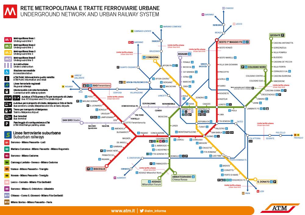 Official Milan Subway Map